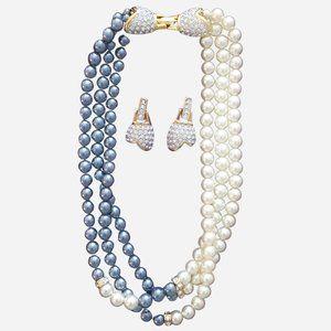 1928 Jewelry Triple Strand Grey & Pearl Necklace